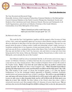 New York Abortion Law Encyclical